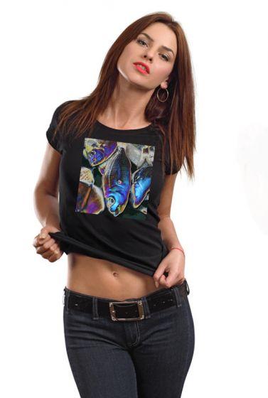 Dámské luxusní triko s potiskem ,,Blue fish,,