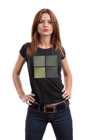 Designové dámské tričko s potiskem ,,Čtverce v zelené,,