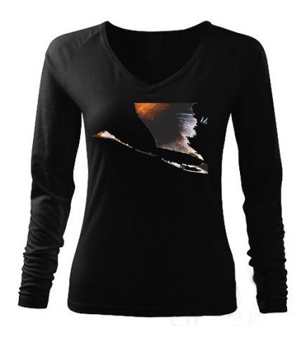 Dámské černé tričko s dlouhým rukávem ,,Labuť,,