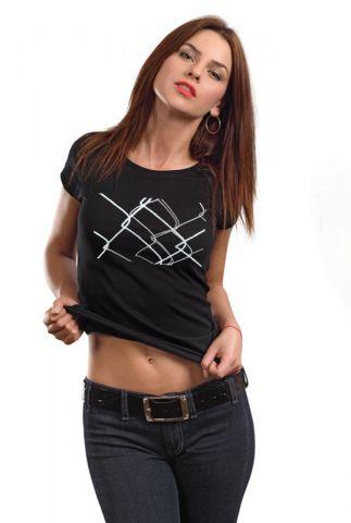 Dámské tričko s potiskem ,,Za plotem,,