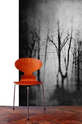 """Luxusní vliesová tapeta """"Black trees"""" z kolekce Beton story"""