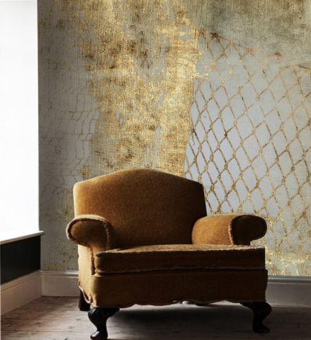 """Luxusní vliesová tapeta """"Gold nets"""" z kolekce Beton story"""